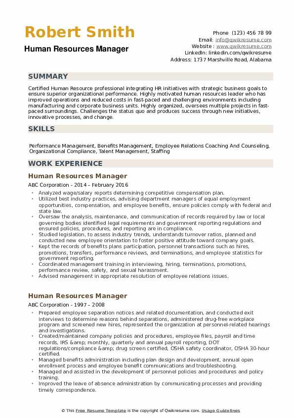 human resources manager resume samples qwikresume resource management example pdf Resume Resource Management Resume Example