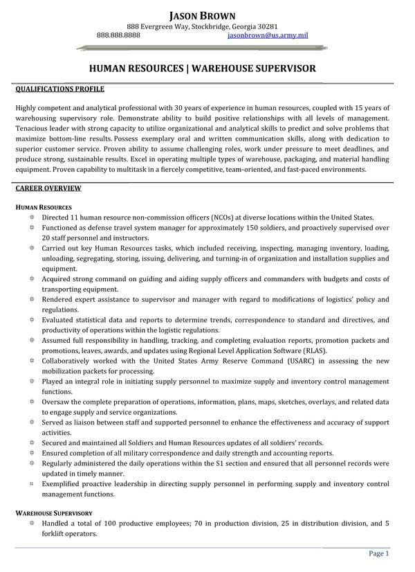 human resources warehouse supervisor resume sample good examples job samples Resume Warehouse Supervisor Resume Sample