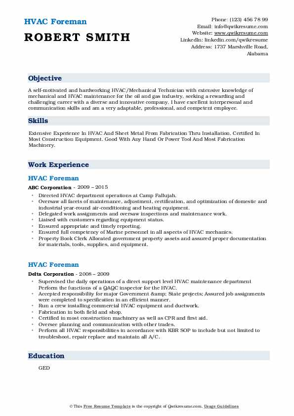 hvac foreman resume samples qwikresume sample pdf costume assistant summary examples for Resume Resume For H1b Visa Interview