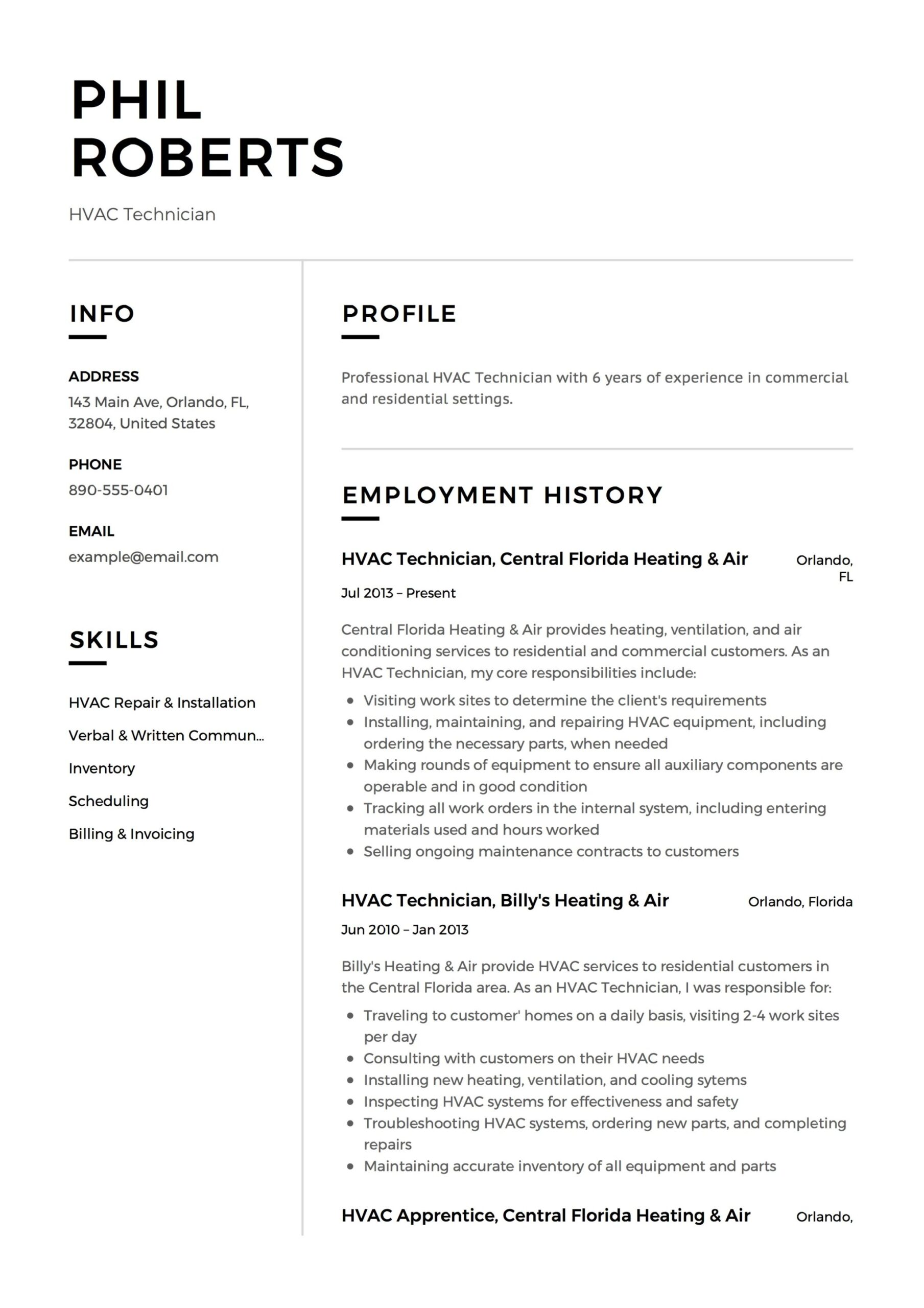hvac technician resume guide templates pdf word for refrigeration and airconditioning Resume Resume For Refrigeration And Airconditioning Mechanic