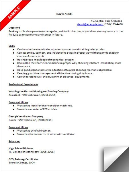 hvac technician resume sample medical templates for refrigeration and airconditioning Resume Resume For Refrigeration And Airconditioning Mechanic