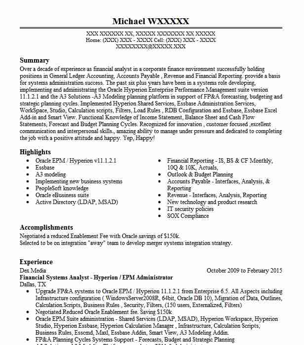 hyperion planning associate resume example marina del rey administrator big data for Resume Hyperion Administrator Resume