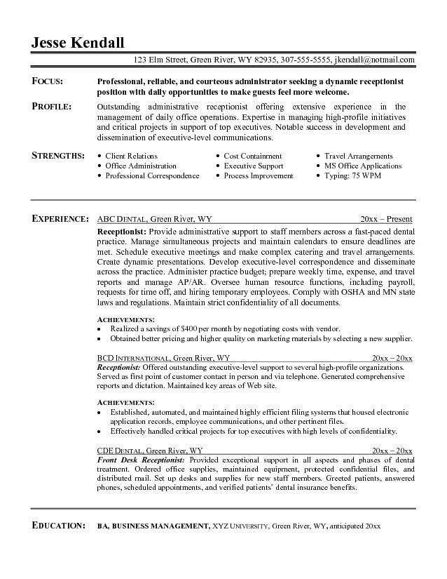 image for resume objective summary examples job samples administrative assistant of Resume Examples Of Resume Summary For Receptionist