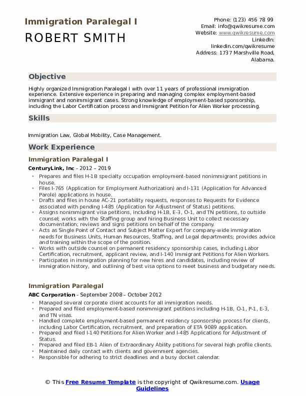 immigration paralegal resume samples qwikresume for h1b visa interview pdf operating room Resume Resume For H1b Visa Interview
