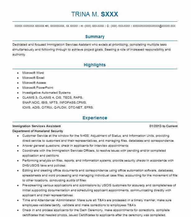 immigration services assistant resume example citizenship and holtsville new sample Resume Immigration Services Assistant Sample Resume