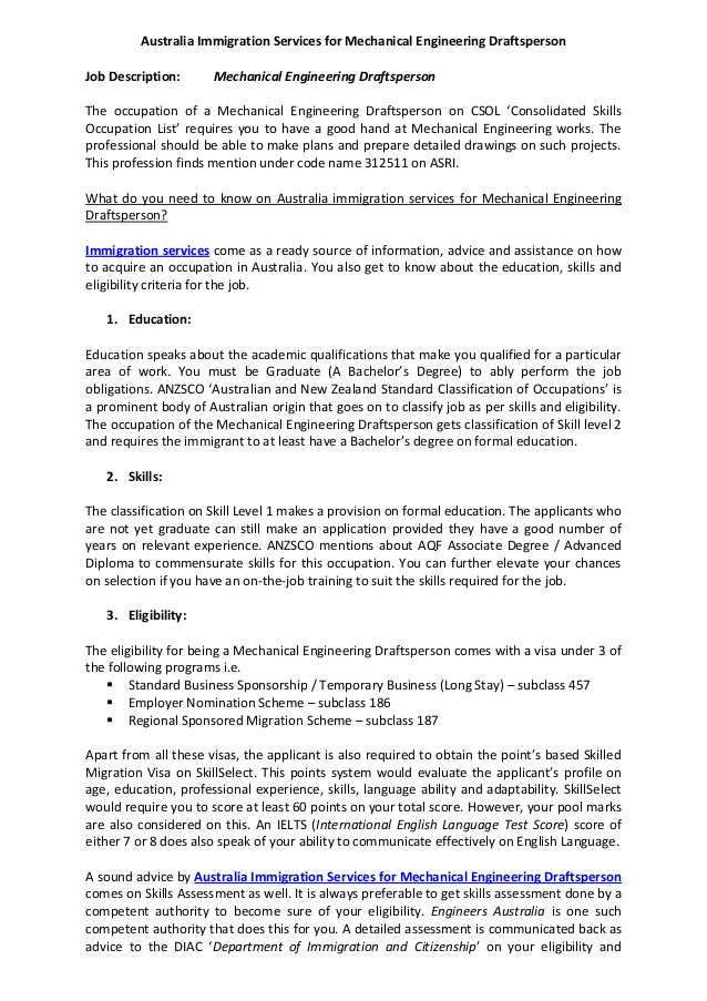immigration services assistant resume sample for mechanical engineering draftsperson Resume Immigration Services Assistant Sample Resume