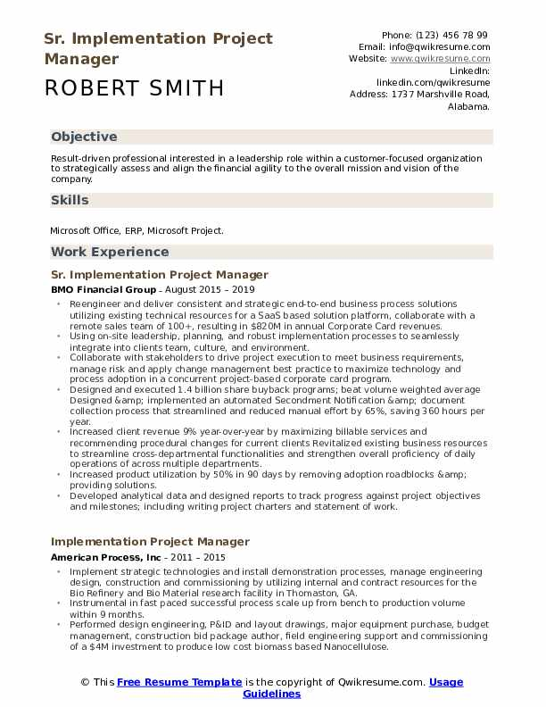 implementation project manager resume samples qwikresume objective for pdf j2ee example Resume Objective For Resume Project Manager