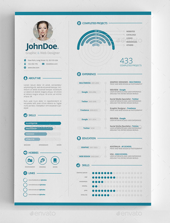 infographic resume templates free premium piece sap bods experience ojt objectives for Resume Infographic Resume Download