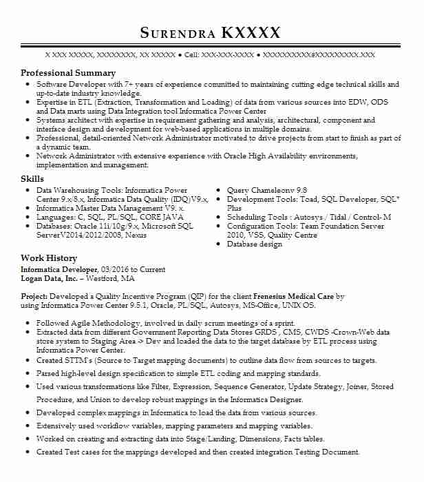 informatica developer resume example resumes livecareer for years experience dental Resume Informatica Developer Resume For 5 Years Experience