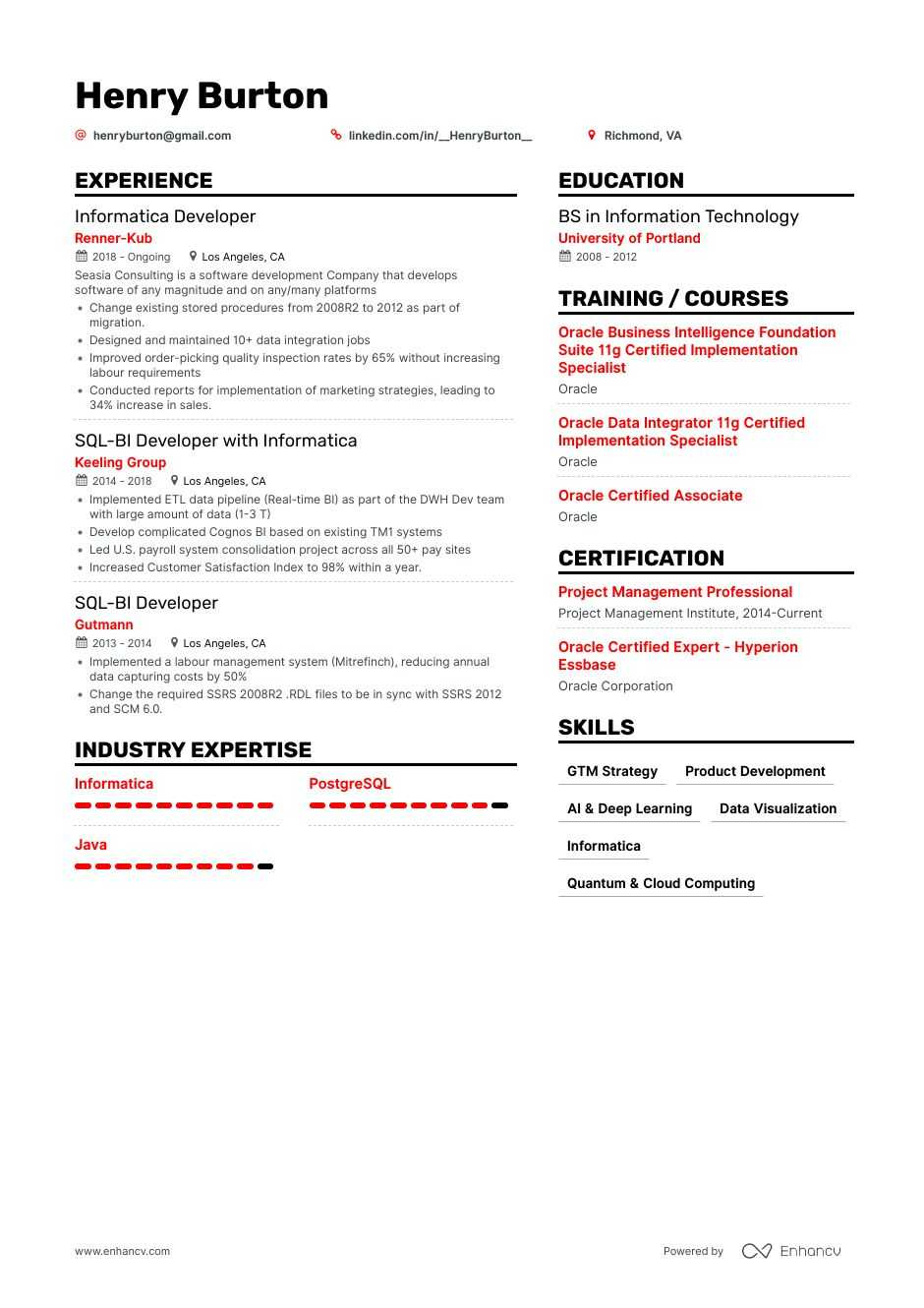 informatica resume examples inside to tips enhancv developer for years experience dental Resume Informatica Developer Resume For 5 Years Experience