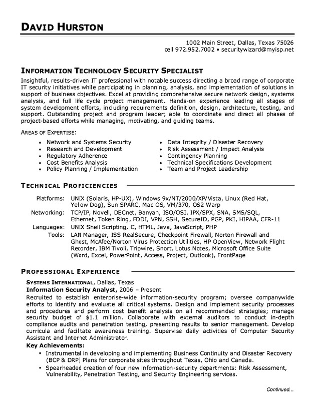information security analyst resume sample business development executive stage manager Resume Information Security Analyst Sample Resume