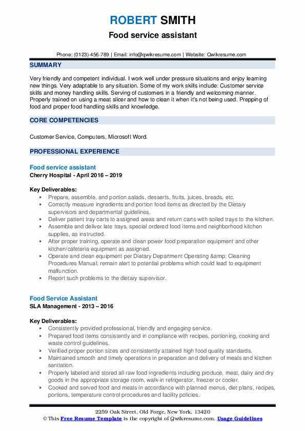 inspiring customer service résumé examples and templates experience resume food Resume Service Experience Resume