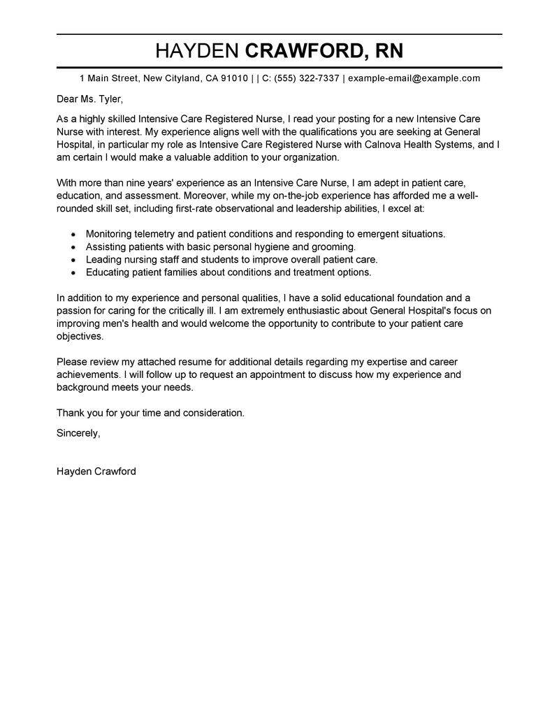 intensive care nurse cover letter example tips for nursing resume examples clintensive Resume Cover Letter For Nursing Resume Examples