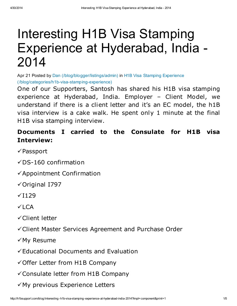 interesting h1b visa stamping experience at hyderabad resume for interview Resume Resume For H1b Visa Interview
