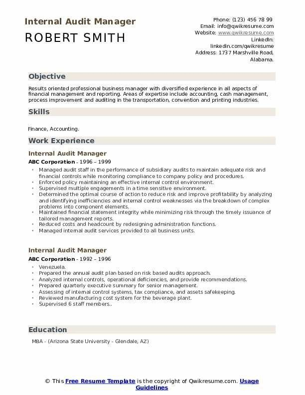 internal audit manager resume samples qwikresume template cbp officer aid and reference Resume Internal Resume Template