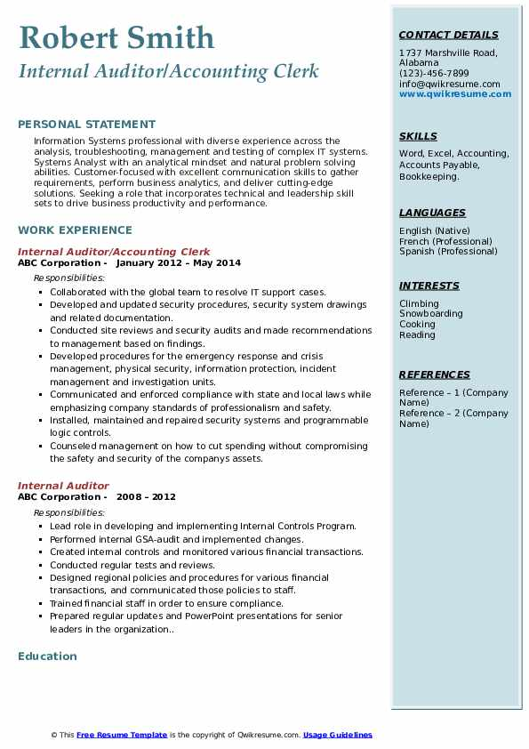 internal auditor resume samples qwikresume template pdf cbp officer aid and reference Resume Internal Resume Template