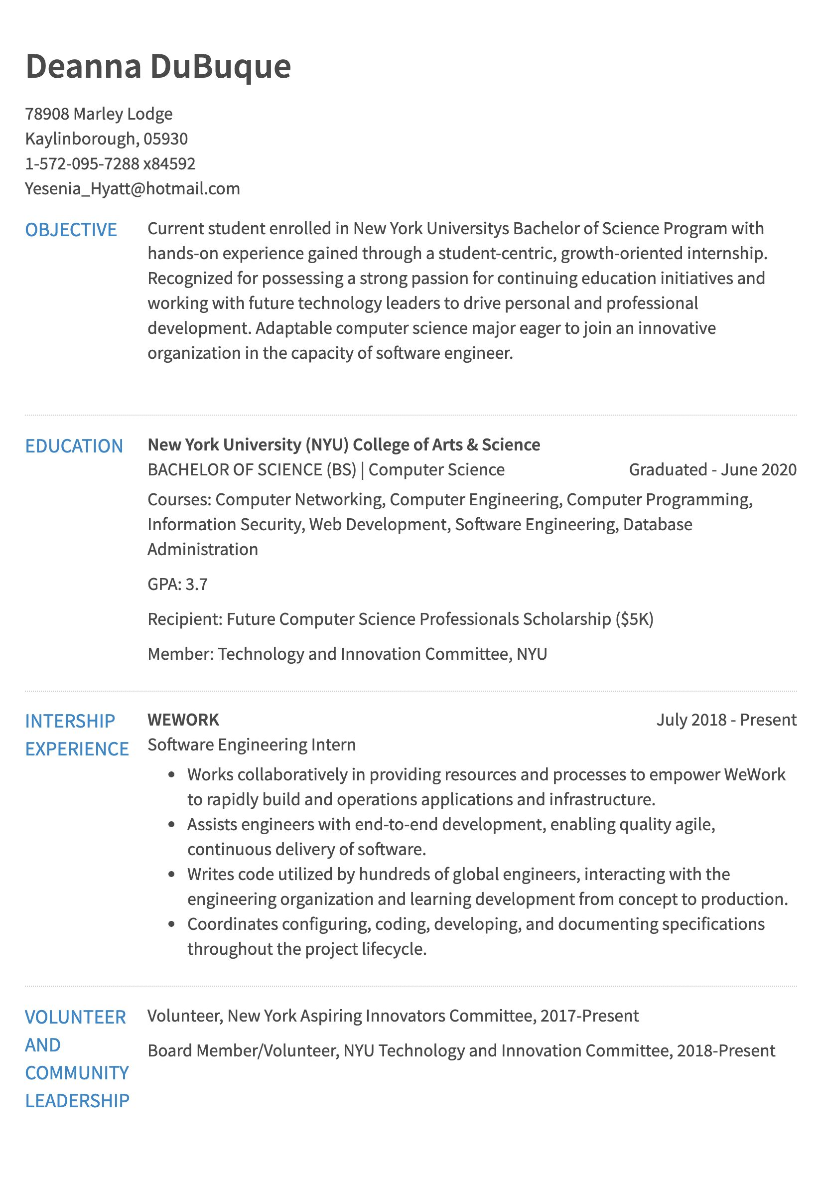 internship resume example undergraduate computer science years of exp sample for Resume Undergraduate Computer Science Resume