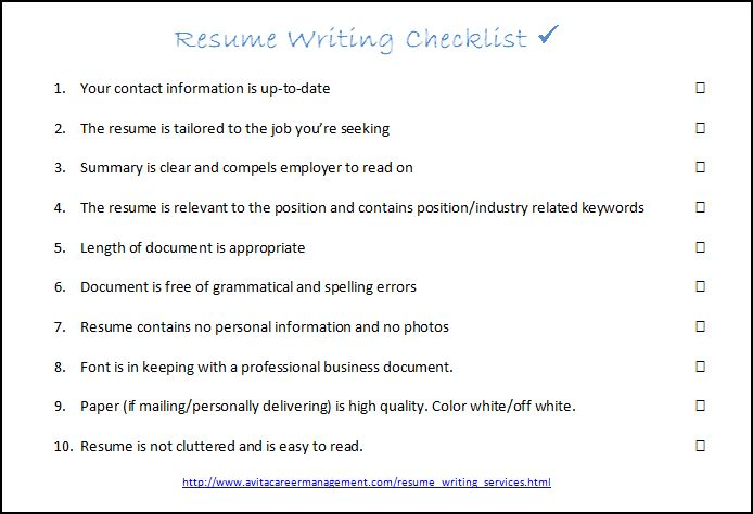 interview success coach resume writing checklist for resumewritingchecklist2 counselor Resume Checklist For Resume Writing