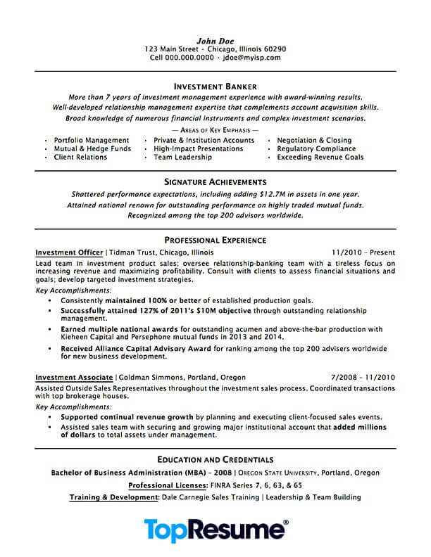 investment banking resume sample professional examples topresume finance skills section Resume Finance Resume Skills Section