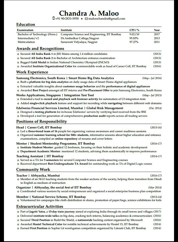 is the best iit resume you have seen quora madras template free legal format for years Resume Iit Madras Resume Template