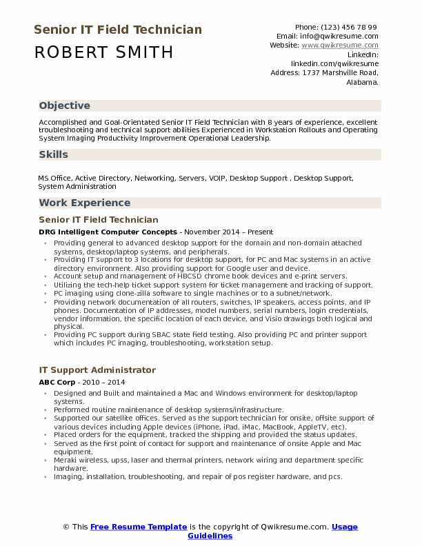 it field technician resume samples qwikresume sample pdf medical coding examples prince2 Resume Field Technician Resume Sample