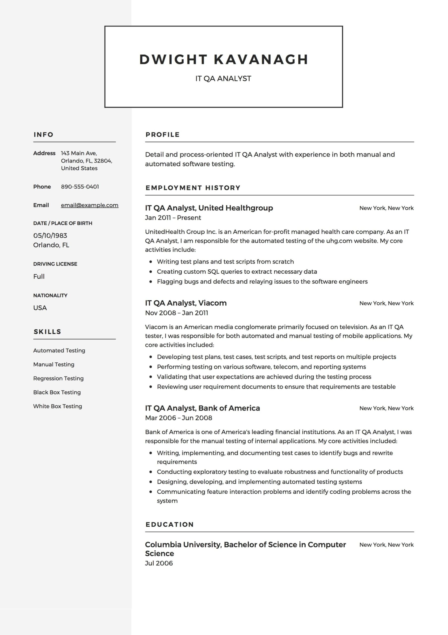 it qa analyst resume guide templates pdf quality assurance sample example latex examples Resume Quality Assurance Analyst Resume Sample