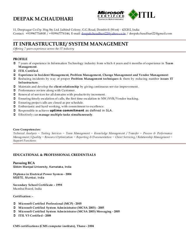 itil resume for freshers certified format deepak peace corps shoprite hotel room Resume Itil Certified Resume Format