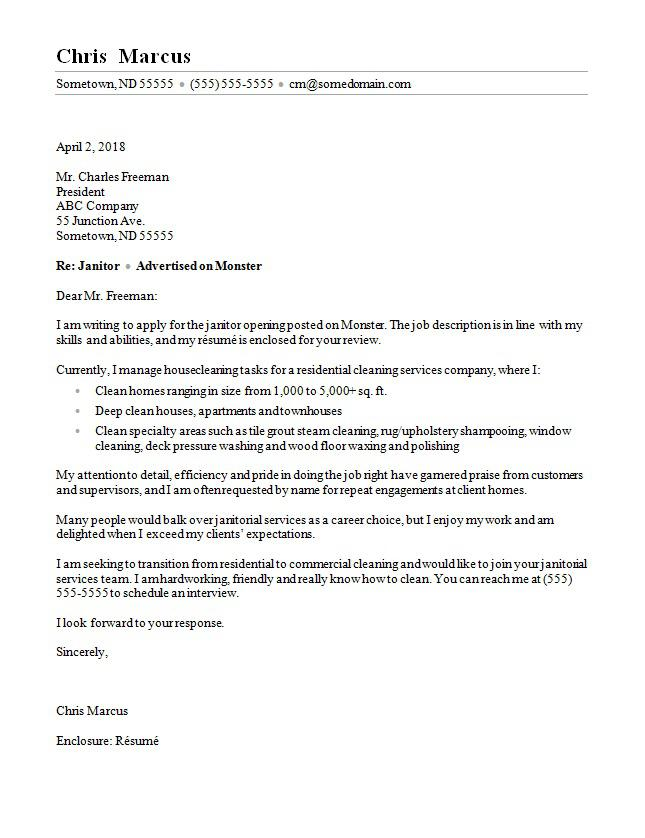 janitor cover letter sample monster enclosed resume catchy summary for advertising writer Resume Cover Letter Enclosed Resume