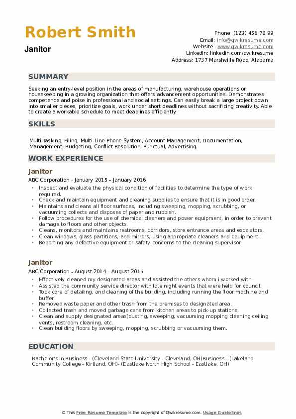 janitor resume samples qwikresume objective for janitorial position pdf entry level Resume Resume Objective For Janitorial Position