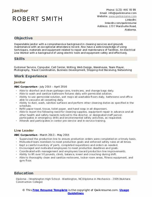 janitor resume samples qwikresume objective for janitorial position pdf sap basis years Resume Resume Objective For Janitorial Position