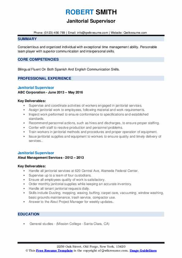 janitorial supervisor resume samples qwikresume objective for position pdf project Resume Resume Objective For Janitorial Position