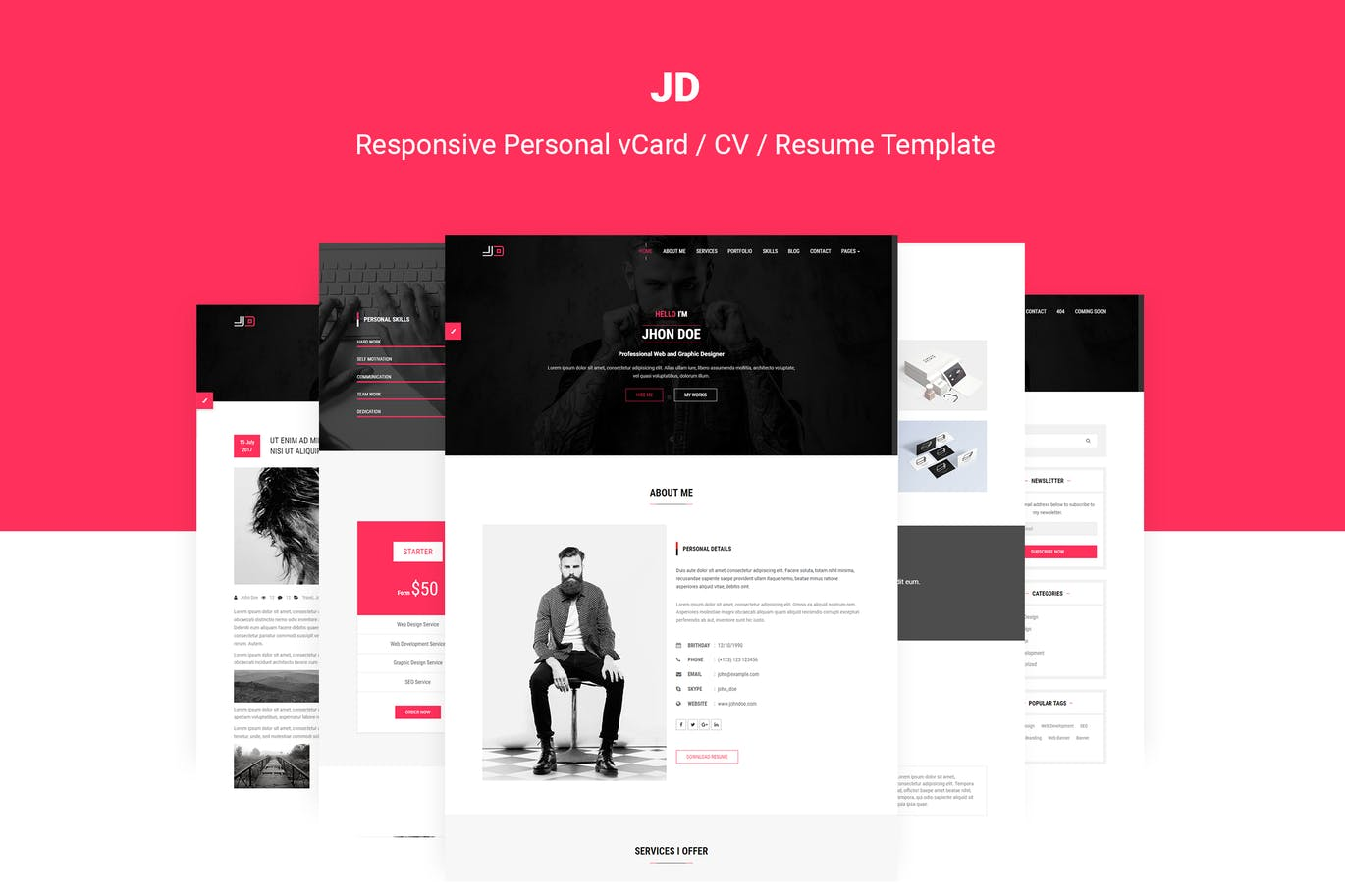 jd personal vcard cv resume template premium creative assets for make on phone trucking Resume Personal Assets For Resume