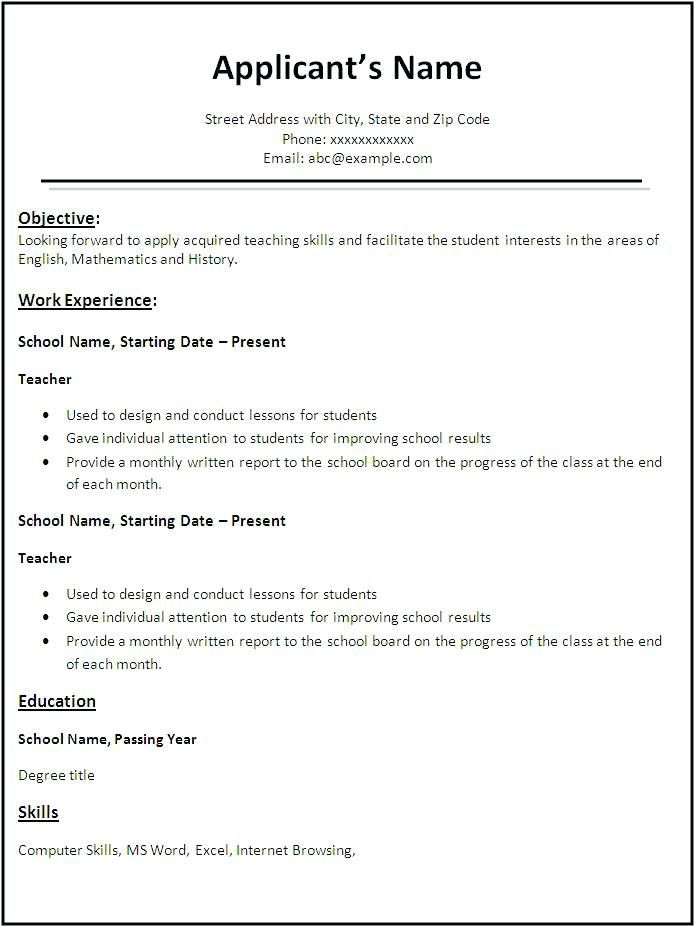 job application resume sample fresher teacher examples should you put dates of employment Resume Fresher Teacher Resume Examples