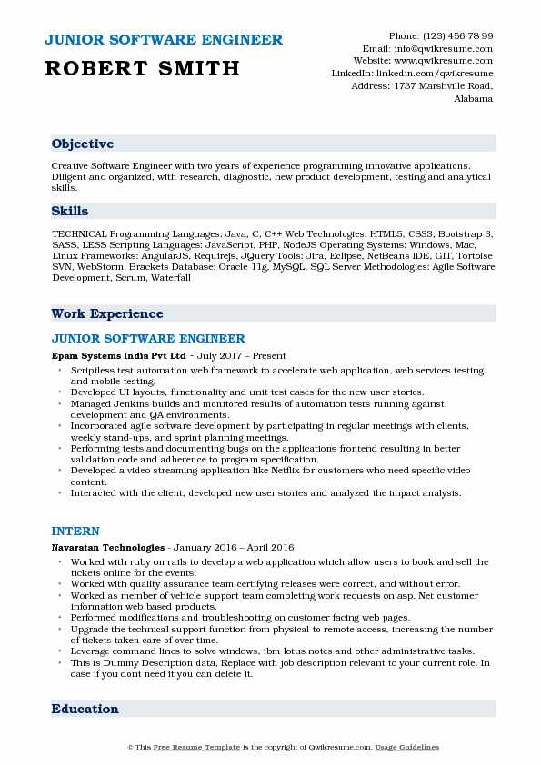 junior software engineer resume samples qwikresume objective for experienced engineers Resume Objective For Resume For Experienced Software Engineers