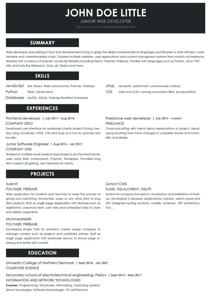 junior web developer do have any chances with this resume feedback is welcome resumes Resume Reddit Software Engineer Resume