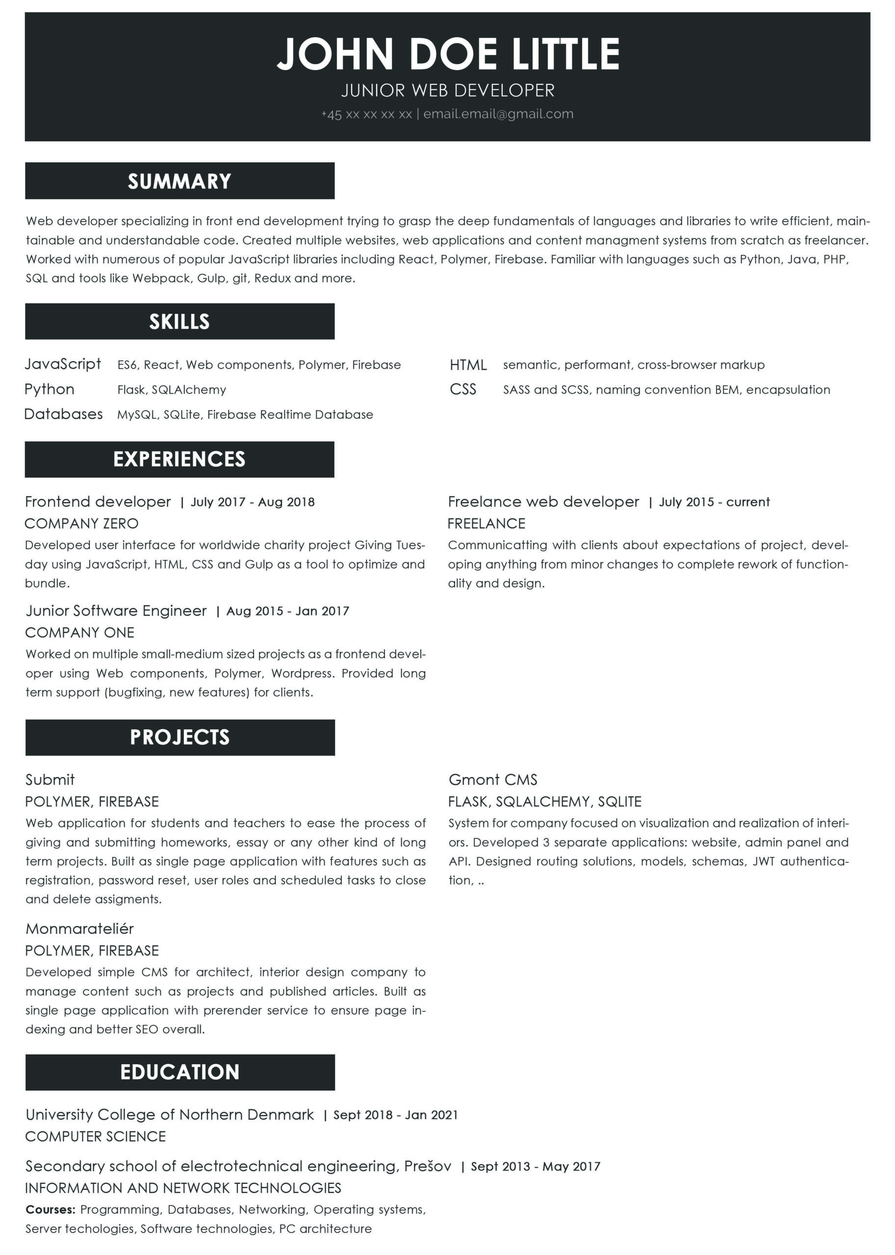 junior web developer do have any chances with this resume feedback is welcome resumes Resume Junior Software Developer Resume Reddit