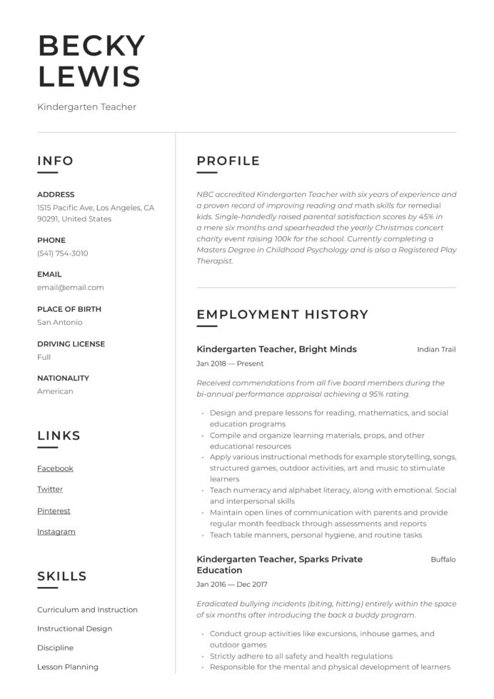 kindergarten teacher resume writing guide examples objective for human resources template Resume Objective For Kindergarten Teacher Resume