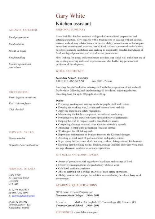 kitchen assistant cv sample resume for staff pic completely free maker powerful words and Resume Resume Sample For Kitchen Staff