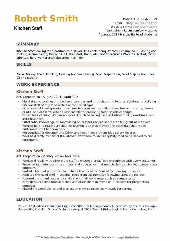 kitchen staff resume samples qwikresume job description for pdf professional writing Resume Kitchen Staff Job Description For Resume