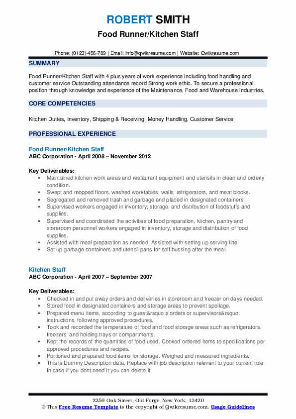 kitchen staff resume samples qwikresume sample for pdf legal writing services simple two Resume Resume Sample For Kitchen Staff