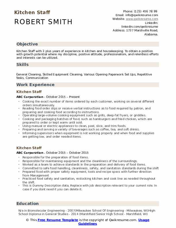 kitchen staff resume samples qwikresume sample for pdf simple two column template Resume Resume Sample For Kitchen Staff