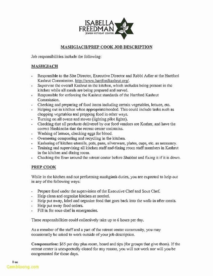 kitchen staff sample resume huroncountychamber job description for housekeeping Resume Kitchen Staff Job Description For Resume