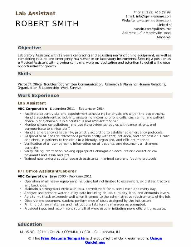 lab assistant resume samples qwikresume laboratory skills pdf cyber security entry level Resume Laboratory Skills Resume