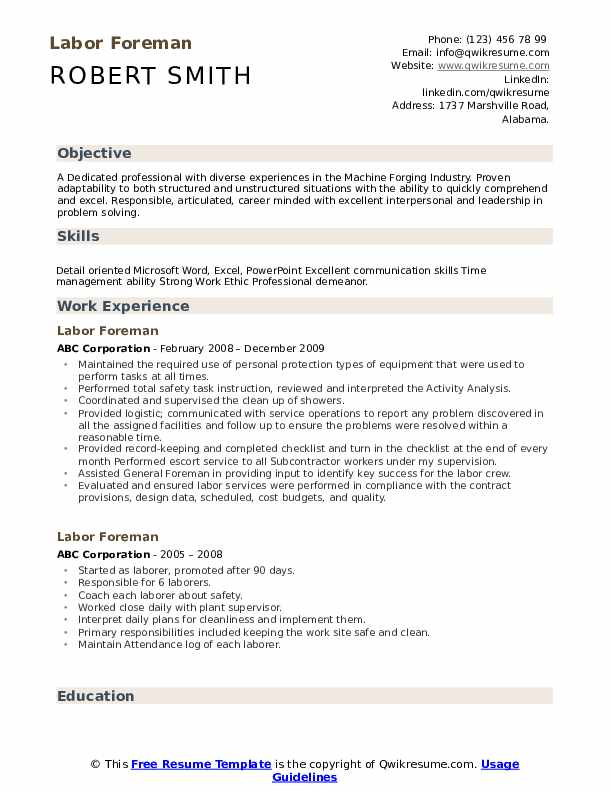 labor foreman resume samples qwikresume strong work ethic pdf usajobs government template Resume Strong Work Ethic Resume