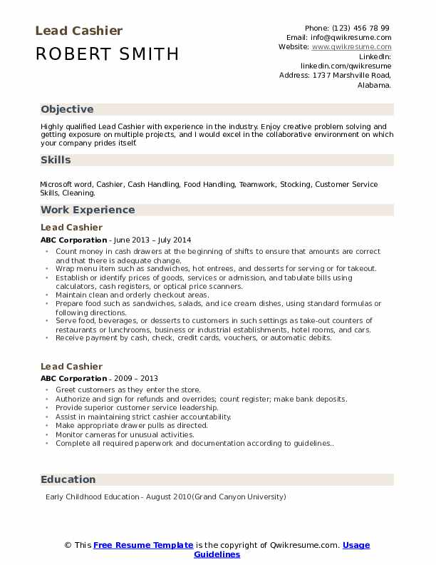lead cashier resume samples qwikresume duties and responsibilities pdf edit word goldman Resume Cashier Duties And Responsibilities Resume