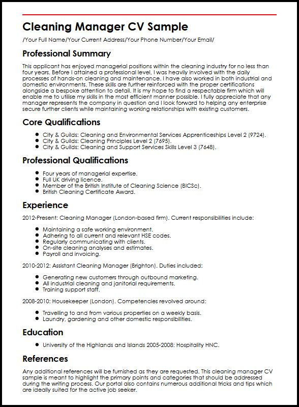 lead confidently with our manager cv example myperfectcv environmental services Resume Environmental Services Supervisor Resume