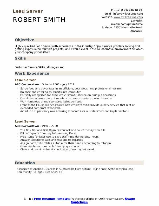 lead server resume samples qwikresume sample responsibilities pdf acceptable fonts for Resume Sample Server Resume Responsibilities