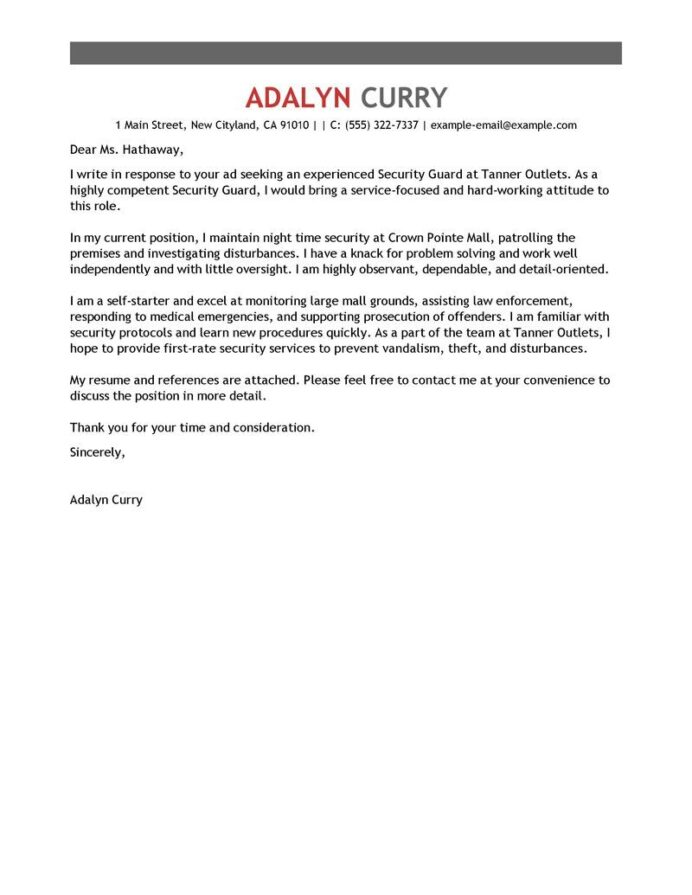 leading professional security guard cover letter examples resources myperfectresume Resume Security Position Resume