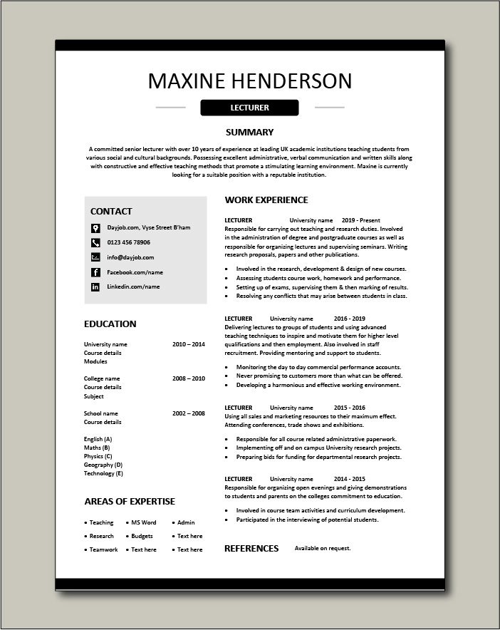 lecturer cv template academic teaching research education jobs resume for professor free Resume Resume Template For Professor