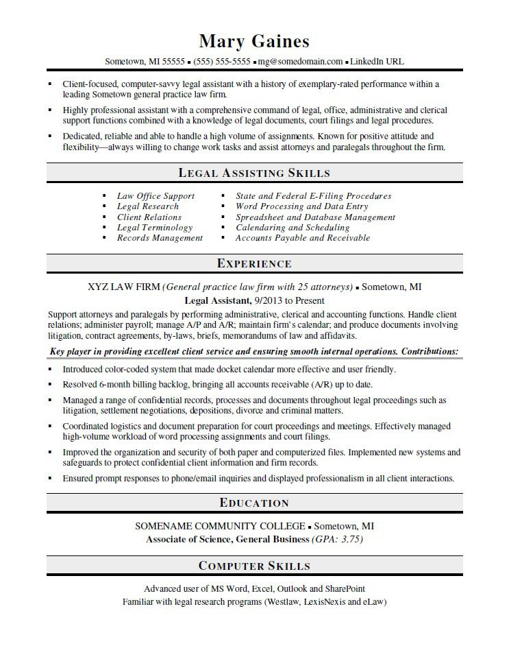 legal assistant resume sample monster paralegal template onet builder office work Resume Paralegal Resume Template